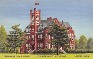 Lamoni Iowa~RLDS Graceland College~Administration Building~1943 Linen Postcard