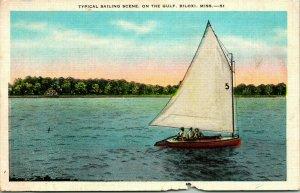 Vtg Linen Postcard - Typical Sailing Scene on the Gulf - Biloxi Mississippi Unp