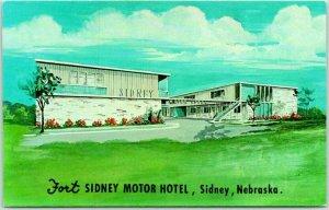 Sidney, Nebraska Postcard FORT SIDNEY MOTOR HOTEL Artist's View c1960s Chrome