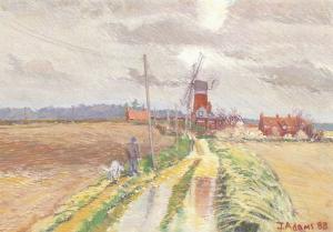 Art Postcard, Weybourne Windmill Norfolk (1988) by Julie Adams 37R