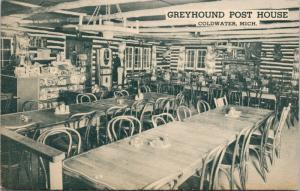 Greyhound Post House Coldwater MI Michigan Vacationland Curteich Postcard D76