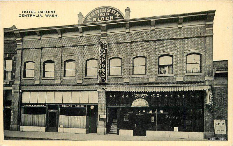 C 1910 Hotel Oxford Centralia Washington Boughton Robbins Postcard 11738