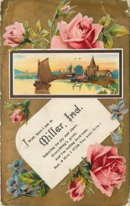Miller Indiana~Sailboat on Lake Scene~Embossed~Roses on Gold 1910
