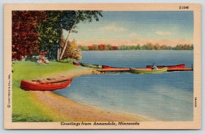 Annandale Minnesota~Colorful Rowboats on Pleasant Lake Shore~1947 Linen Postcard