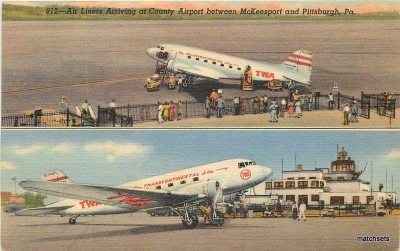 1940s TWA Airlines County airport McKeesport Pittsburgh Pennsylvania 3274