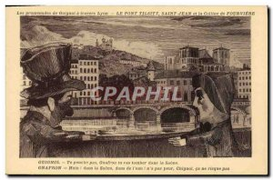 Old Postcard Puppets Guignol Lyon Tilsit bridge Saint John and the Fourviere ...