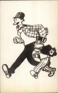 c1915 Comic Real Photo Postcard - Monopoly Guy Look-Alike Uncle Pennybags
