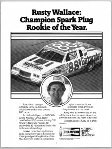 1985 Rusty Wallace Champion Spark Plug Rookie Of the Year  Print Ad N1