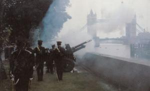 Military Gun Salute at Tower Bridge Royal Postcard