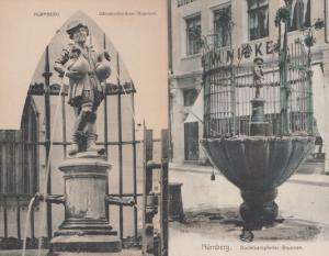 Nurnberg Gansemannchen Brunnen Denkmal Statue 2x Germany Antique Postcard s