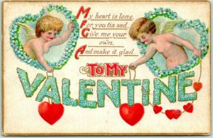 Vintage 1911 VALENTINE'S DAY Postcard Cupids / Red Hearts / Floral Large Letters