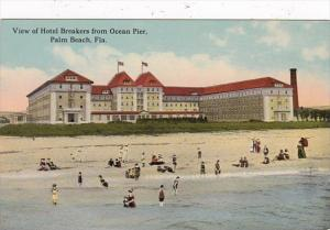 Florida Palm Beach View Of Hotel Breakers From Ocean Pier