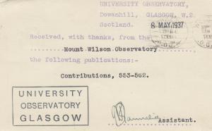 Glascow, Scotland , 1937 ; University Observatory PC