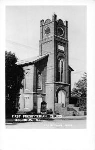 Golconda Illinois First Presbyterian Church Real Photo Antique Postcard K57834