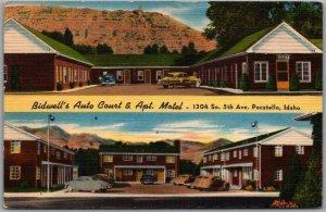 Pocatello, Idaho Postcard BIDWELL'S AUTO COURT & Apt. Motel Linen 1954 Cancel