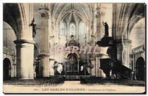 Old Postcard The Sands of Olonne Interior of Church i