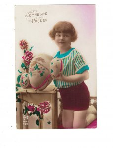 HI1004 EASTER GREETINGS ART DECO GIRL CURLY HAIR BIG HAND PAINTED EGGS