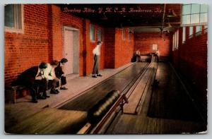 Henderson Kentucky~2 Lane YMCA Bowling Alley Interior~Fellows Set Up Pins~1912