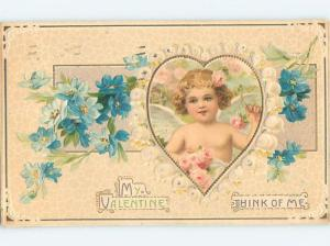 Pre-Linen valentine CUPID INSIDE HEART WITH BEAUTIFUL FLOWERS HJ2213