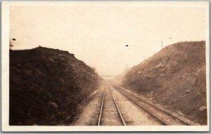 Vintage RPPC Real Photo Postcard RAILROAD TRACKS Cut / Bridge View c1920s Unused