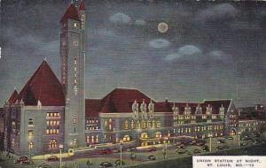 Missouri Saint Louis Union Station At Night 1954
