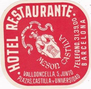 Spain Barcelona Hotel Restaurante Meson Castilla Luggage Label sk4544