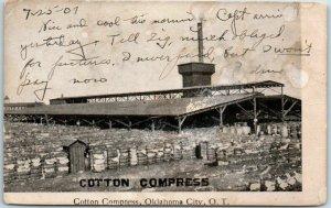 1907 OKLAHOMA TERRITORY Postcard Cotton Compress, Oklahoma City w/ Cancel