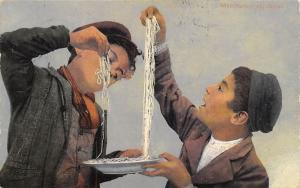 Maccheroni appetitosi, Mangiamaccheroni, Spaghetti Pasta, children, food 1912