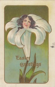 EASTER Greetings, Female head in lily flower, 1900-10s