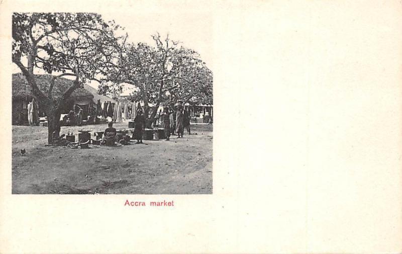 Ghana Gold Coast Accra market postcard