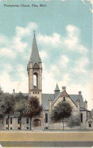 Flint Michigan~Presbyterian Church~Stone Bldg~Bell in Steeple~1910 Postcard