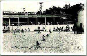 Del Mar, California RPPC Photo Postcard Beach & Cabana Club - Pool Scene 1948