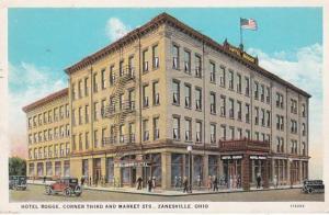 Ohio Zanesville Hotel Rogge Corner Third and Market Streets 1937