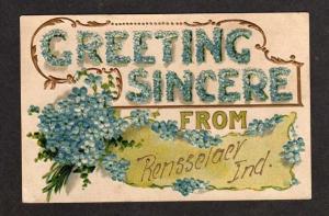 IN Greetings from RENSSELAER INDIANA Postcard Flowers