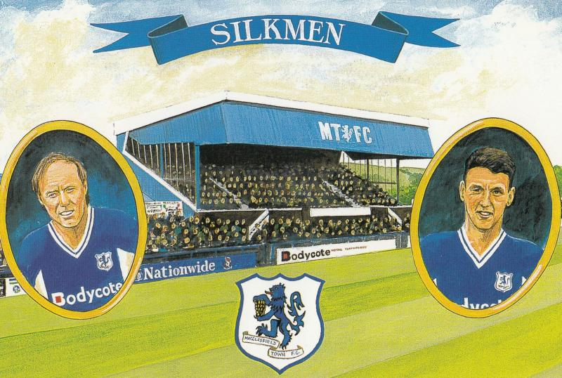 Macclesfield Football Club 1997 1998 Season Victory Stadium Painting Postcard