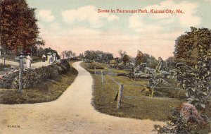 Scene in Fairmount Park, Kansas City, Missouri, Early Postcard, Unused