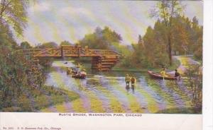 Illinois Chicago Rustic Bridge In Washington Park 1909