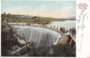 San Diego California Great Sweetwater Dam Antique Postcard J51912