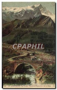 Old Postcard The Dauphine La Grave Bridge Romanche and Meije
