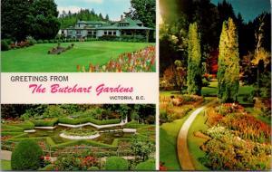 Greetings from Butchart Gardens BC Multiview Unused Vintage Postcard D63