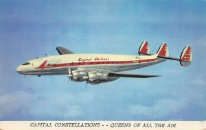 Capital Airlines, Capital Constellations, Circa 1950's Postcard, Unused