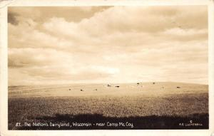 Wisconsin~Dairyland Scene~Holstein Cows in Pastre~near Camp McCoy~1943 RPPC