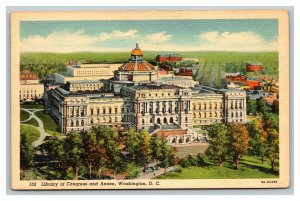 Vintage 1940's Postcard Panoramic View of the Library of Congress Washington DC