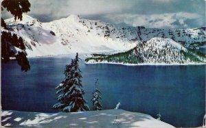Crater Lake & Wizard Lake OR Oregon Winter Snow Unused Vintage Postcard G57