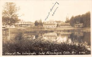 D53/  Cable Lake Namakagon Wisconsin Wi RPPC c1930s Photo Postcard The Lakewoods