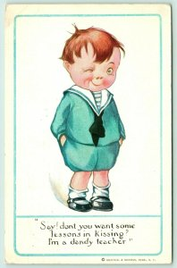Artist Signed~Ornery Boy Winks~You Want Some Lessons in Kissing?~Dandy Teacher