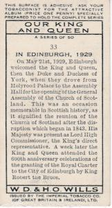 Cigarette Card Wills Our King and Queen No 33 In Edinburgh