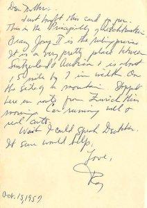 Writing on card 1957
