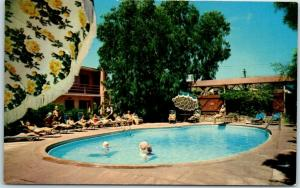 Laguna Beach, California Postcard SURF AND SAND HOTEL Pool Scene c1950s Unused
