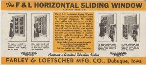 Vintage Ink Blotter Ad Farley & Loetscher Mfg Co Dubuque IA Sliding Window